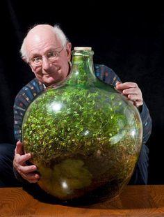 -Dies ist das vielleicht kleinste und älteste erhaltene Ökosystem der Welt.  -Ein Garten, den David Latimer 1960 in einer Flasche pflanzte, wurde zuletzt im Jahr 1972 gegossen, bevor sie dicht verschlossen wurde.  -heute 80-jährige wollte experimentieren, wie lange das Ökosystem überleben würde. - Das einzige, was diesem Flaschen-Garten extern zugeführt wird, ist Licht,  -Davon abgesehen ist es ein völlig autarkes Ökosystem