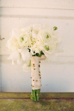 Bridal Bouquet wrap...random pin placement=modern! Brides bouquet by Panacea Floral Event Design