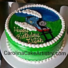 Hand painted Thomas The Train birthday cake!