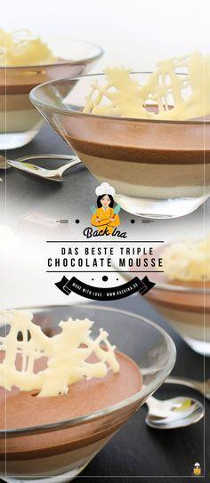 Triple Mousse au Chocolat ohne Ei - das ist das leckerste Schoko Dessert im Glas, das ich kenne. Cremiges weißes Mousse au Chocolat, aromatisches Nougat Mousse und klassisches dunkles Mousse au Chocolat kombiniert zu einem Ombre Dessert. Und das ganze Mousse au Chocolat Rezept ist ohne Ei!   BackIna.de