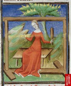•Arachne (fol. 30v) and Penelope (fol. 61v), De mulieribus claris (British Library, Royal 20 C V), first quarter of the 15th century