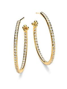 Temple St. Clair Classic Diamond & 18K Yellow Gold Hoop Earrings/1