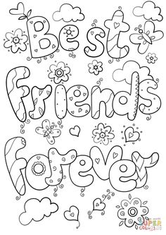Best friends forever coloring page in best friend coloring pages Coloring Pages For Teenagers, Pokemon Coloring Pages, Coloring Pages For Girls, Cartoon Coloring Pages, Disney Coloring Pages, Free Printable Coloring Pages, Colouring Pages, Coloring Sheets, Coloring Books