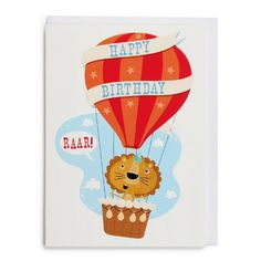 Snackpackers lion in balloon card