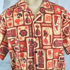 Shag Tiki Oasis 10 Mens Hawaiian Shirt XL 50in Chest Barkcloth 2010 Event Rare #Shag #Hawaiian