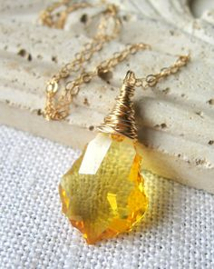 Swarovski Crystal Necklace, Citrine Necklace by MySweetNomsa on Etsy