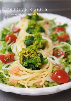 女子会で作りたい♡菜の花と明太子ルイベのさっぱりパスタサラダ♡