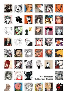 "November 3  / International day of man /   Wall-calendar-project 2011: ""calendar of memorial days""  / Published by Büchergilde - Frankfurt"