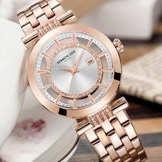 7e6417c4e90 Kenneth Cole Mulheres Relógios de Quartzo Rosa De Ouro Pulseira de Aço  Inoxidável À Prova D  Água Diamante See-through 2018 Relógios De Marcas de  Luxo -