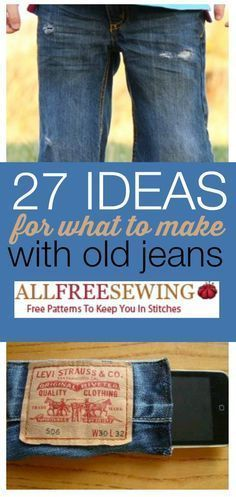 Don't throw out your old jeans! It's time to deconstruct with these Ideas for What to Make with Old Jeans. All of these sewing projects are useful and durable so set aside a little time and bring your denim back to life. All Jeans, Jeans Denim, Denim Bag, Jean Crafts, Denim Crafts, Sewing Jeans, Diy Mode, Denim Ideas, Recycled Denim