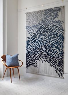 Anna Gravelle - Murmuration - large scale textile wall hanging by Anna GravelleLarge Scale Textile Wall Hanging With Modern Fabric Art Folder OrganizerAnna Gravelle is a designer with a reputation for creating innovative fabrics and architectural art Fabric Wall Art, Diy Wall Art, Hanging Wall Art, Wall Hangings, Hanging Fabric On Walls, Artwork Wall, Large Artwork, Framed Fabric, Wall Décor