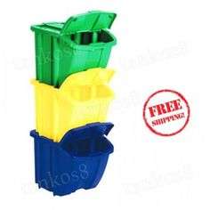 Recycle-Bin-Kit-Multi-Colored-Garbage-Storage-Trash-Waste-Container-Organizer