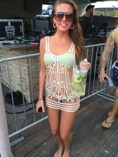 crochet bikini cover up from the winter music conference ultra EDM festival outfits nikki beach Miami