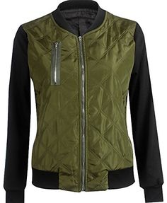 Pxmoda Women's Padded Zipper Baseball Pilot Bomber Cotton Jacket Coat (M,Dark green)