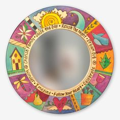 This beautifully designed Small Round Mirror is truly one-of-a-kind and handmade by the incredibly talented Artisans at Sticks! The imagery on each Mirror is drawn freehand without use of a patte Mirror Painting, Painting Frames, Mirror Mirror, Small Round Mirrors, Sticks Furniture, Hand Painted Furniture, Painted Chairs, Painted Sticks, Handmade Tags