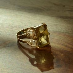 Gold Citrine Ring 18k and 24k Yellow Gold by JdotC on Etsy