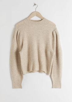 Merino wool blend ribbed knit sweater with a mock neck and voluminous puff sleeves.Length of sweater: / (size S)Model wears: S Beige Sweater, Fashion Story, S Models, Mock Neck, Capsule Wardrobe, Wool Blend, Knitwear, Personal Style, Autumn Fashion