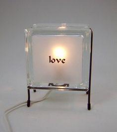 LOVE glass block lamp upcycled handmade night light di Glowblocks