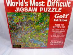 Golf Edition Most Difficult Puzzle 529 Pc Unopened 2 Sided Puzzle Mint in Box Buffalo Products Made in USA 15 inches Square Finished
