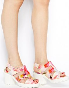 Image 4 ofSwear Jane 4 Pink Floral Mid Heeled Sandals