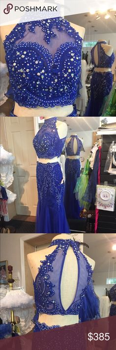 Envious two piece prom dress Envious two piece  Fabric is a jersey knit with a lace overlay  Gorgeous in every way 🦋 No alterations  Has tags was worn once   Size 4 34/28/36 Envious Dresses Prom