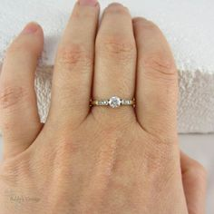 Art Deco Diamond Engagement Ring. Round Brilliant Diamond by Addy