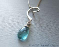 Apatite necklace sterling silver swirl  aqua blue by KrisPstudio, $29.00