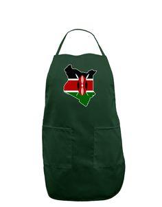 TooLoud Kenya Flag Silhouette Dark Adult Apron