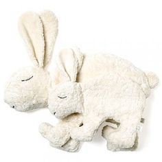 Cuddly Rabbits by Senger Tierpuppen: Handmade in Germany of organic cotton and filled with lambs wool. Can be warmed or cooled using the removeable packet insert of cherry stones. Large is $72
