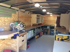 Job site trailers, show off your set ups! - Page 73 - Contractor Talk - Professional Construction and Remodeling Forum Trailer Shelving, Van Shelving, Trailer Storage, Truck Storage, Work Trailer, Trailer Plans, Trailer Build, Cargo Trailers, Utility Trailer