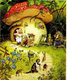The Magic Faraway Tree: Fritz Baumgarten (German Illustrator; G Nome's Toadstool House Art And Illustration, Book Illustrations, Woodland Illustration, Fantasy Kunst, Fantasy Art, Mushroom Art, Mushroom House, Forest Friends, Fairy Art