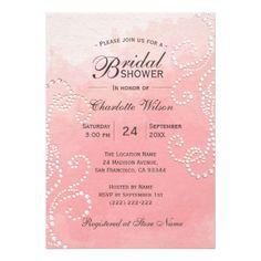 #bridal - #Unique Pink Watercolor Swirl Pearl Bridal Shower Card