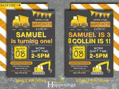 Welcome to Busy bees Happenings!  Caution, Party Zone! Pile on the birthday fun! This birthday invitation is designed for a child of any age. PLEASE NOTE THE DIFFERENT ITEMS & PRICES OF EACH, prices are located in the PRICE DIFFERENCES drop down (all files comes as digital files via email):  1. Invite ONLY: This option includes the invite only with a backside. The invite comes either as 4x6 or 5x7.  2. Construction Package: * 1 Custom Construction Invitation (Choose one of the invitations…