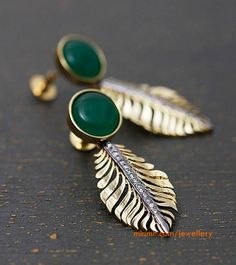peacock feather inspired emerald earrings