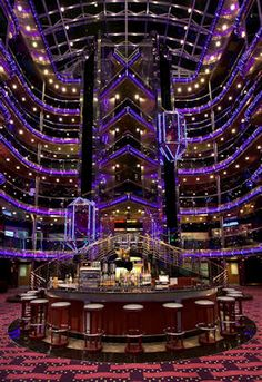 Carnival Sensation - atrium. We set sail to Jamaica and Western Caribbean on this cruise ship.