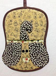 Pegador de panelas - tema cachorro, confeccionado em tecido 100% algodão e forrado com tecido térmico.