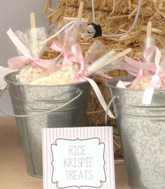 Rice Krispie treat pops in buckets at a Cowgirl birthday party!  See more party ideas at CatchMyParty.com!