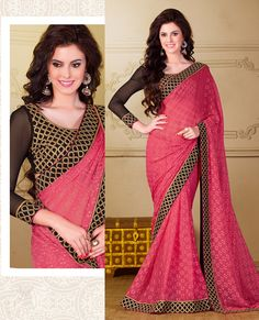 $42.49 Pink Polyester Party Wear Saree 56392