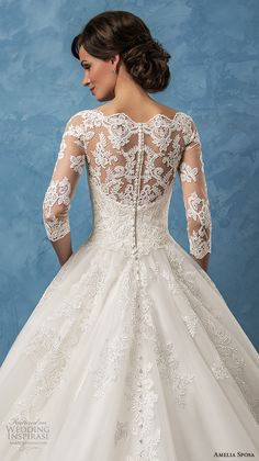 amelia sposa 2017 bridal three quarter sleeves illusion bateau semi sweetheart heavily embellished bodice romantic princess ball gown a  line wedding dress (enrica) zbv