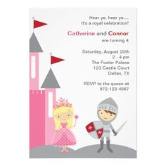 Invitaciones de la princesa y del caballero comunicados personales