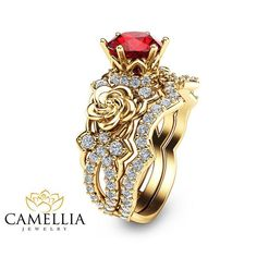14K Gold Ruby Engagement Ring Set Unique Ruby by CamelliaJewelry