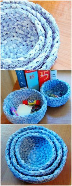 Crocheting Fabric Nesting #Baskets #Pattern