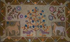 "As posted on Woolley Fox.  New England Berry Tree, 32 x 53"", hookedy by Crystal Brown, PA."