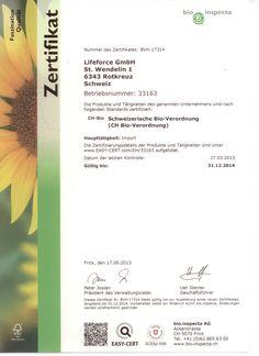 Lifeforce - BIO Zertifikat Red Cross, Minerals, Berries, Things To Do