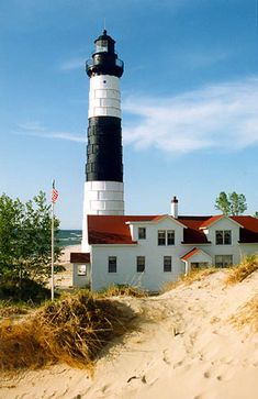 Photographs, history, travel instructions, and GPS coordinates for Big Sable Point Lighthouse.