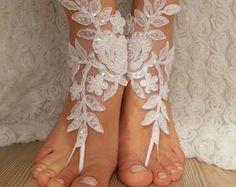 Free Ship bridal banglecream rose sandals beach by BarefootShop