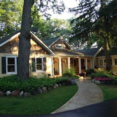 ranch style home - cedar shingles, yellow