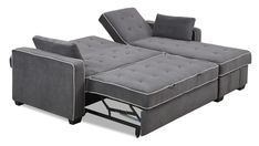 it, sleep, or recline on the Augustine Pullout Sectional. This loveseat and chaise duo is ideal for those seeking style and relaxation. High density foam and memory foam cushioning upholstered in a dark grey microfiber gives this sectional an added level of comfort. The loveseat conceals a pullout sleeper perfect for overnight guests, while the chaise has an under seat storage compartment. With back rests that can lay completely flat, combined with the pullout sleeper, this sectional…