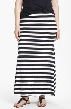 Eight Sixty Stripe Maxi Skirt (Plus) available at #Nordstrom