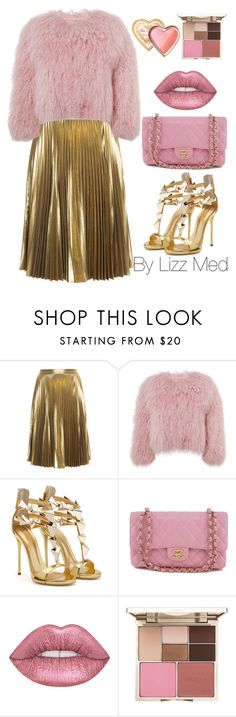 """Golden pink"" by lizz-med ❤ liked on Polyvore featuring A.L.C., Charlotte Simone, Chanel, Stila and Too Faced Cosmetics"